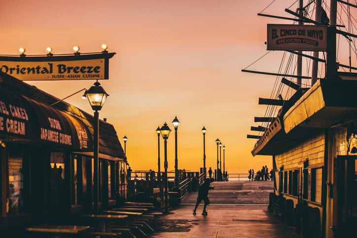 Redondo Beach pier at sunset.