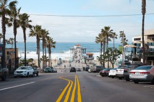 Manhattan Beach, California, USA - January 30, 2016: View of Manhattan Beach Boulevard and Manhattan Beach Pier with locals and tourist enjoying a clear day in Southern California